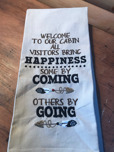 Welcome to our Cabin Dishtowel