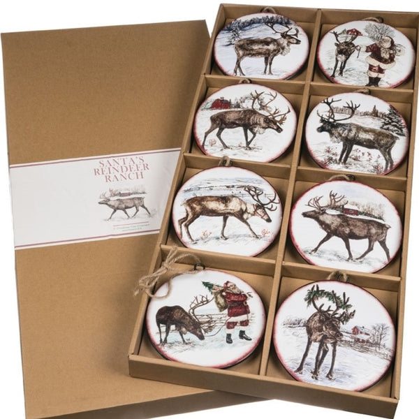 Santa's Reindeer Ranch Ornament Set