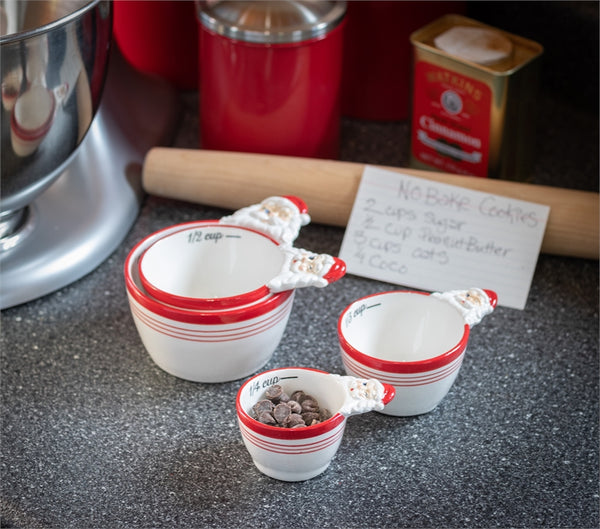 Peppermint Twist Ceramic Measuring Cups
