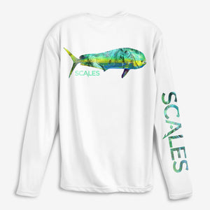 SCALES Tropical Mahi Performance Shirt - White SURF WORLD