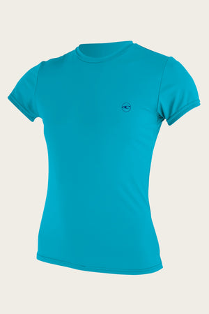 O'Neill 5089 Women's SS Basic UPF 30+ Sun Shirt - Turquoise SURF WORLD