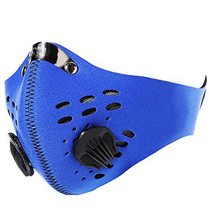 Face Mask with KN95 removable filter and exhale valves - Blue