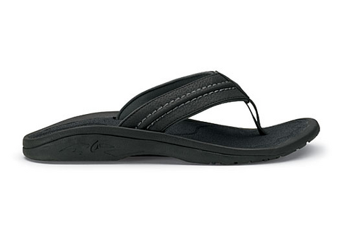 Olukai Hokua Mens Sandals - Black Dark Shadow - SURF WORLD Fort Lauderdale Florida