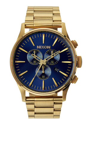 Nixon Sentry Chrono Gold / Blue Sunray Watch A386192200 - SURF WORLD Florida
