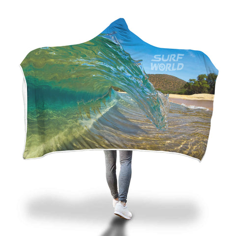 Custom Hooded Surf World Blanket Sherpa Lined