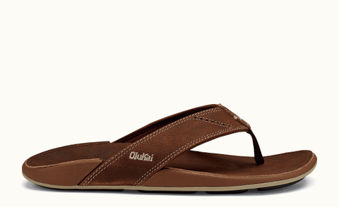 Olukai Nui Rum Rum Brown Leather Men's Sandal 10239SKSK - SURF WORLD  - 1