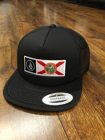 Volcom Florida Trucker Cheese Snap Back Hat Black Out - SURF WORLD  - 1