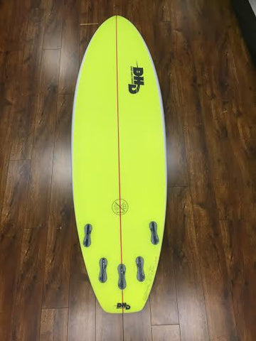 DHD Switch Blade 6'3 x 20-3/4 x 2-3/4 38.04L Hot Yellow Bottom White Top DHD10846 - SURF WORLD Fort Lauderdale Florida