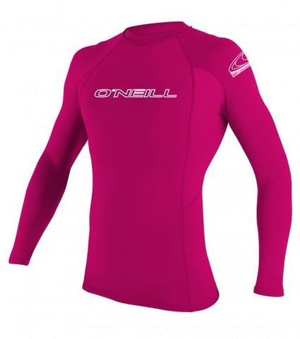 Oneill Youth Basic Skins L/S Crew Watermelon Rashguard - SURF WORLD Fort Lauderdale Florida