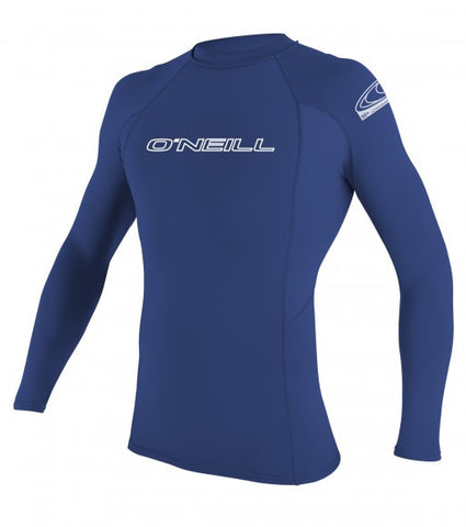 Oneill Basic Skins L/S Crew Rashguard Blue - SURF WORLD Florida