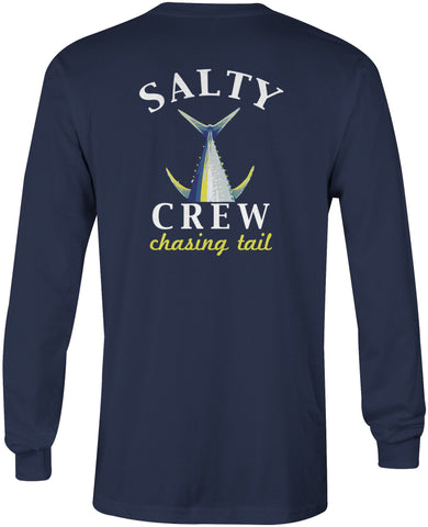 Salty Crew Men's Chasing Tail Navy Blue Long Sleeve Tee Shirt