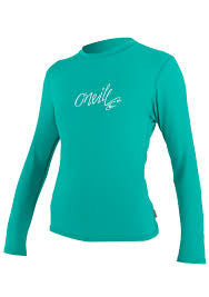 Oneill Women's Light Aqua Skins RG8 Long Sleeve Crew Mesh Rashguard Sun Protection - SURF WORLD Florida