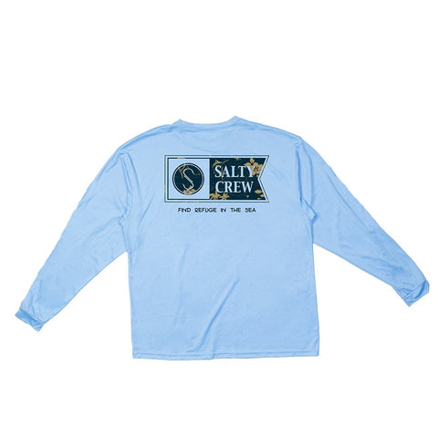 Salty Crew Navigator L/S Tech Tee- Columbia Blue