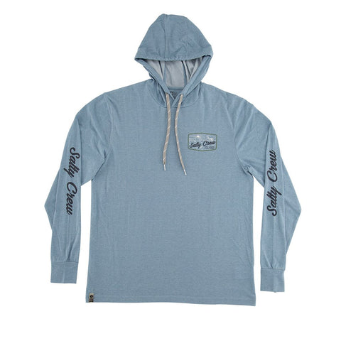 Salty Crew Frenzy LS Tech Hood Tee - Blue Heather