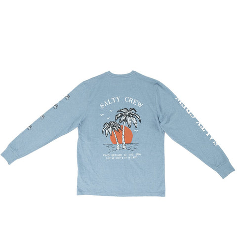 Salty Crew Twin Palm L/S Tech Tee - Blue