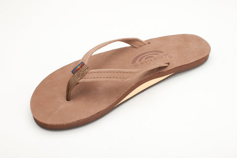 Rainbow Sandals Women's Dark Brown Leather Narrow Strap Single Layer Arch Flip Flops - SURF WORLD Fort Lauderdale Florida