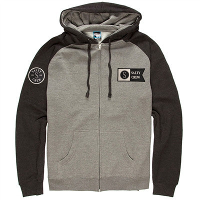 Salty Crew Water Line Zip Hoodie Charcoal Grey 315303 CHR - SURF WORLD Florida