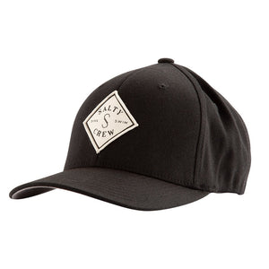 Salty Crew Tippet Stamped 6 Panel Flex Fit Hat - Black SURF WORLD