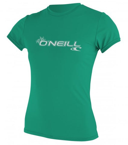 Oneill womens basic skins s/s Rash Tee - Seaglass - SURF WORLD Fort Lauderdale Florida