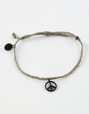 Pura Vida Black Peace Sign Charm - Grey