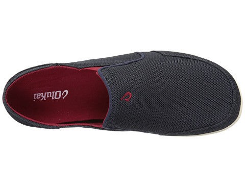 Olukai Men's Nohea Mesh Slip on Shoes - Carbon/ Deep Red - SURF WORLD Fort Lauderdale Florida