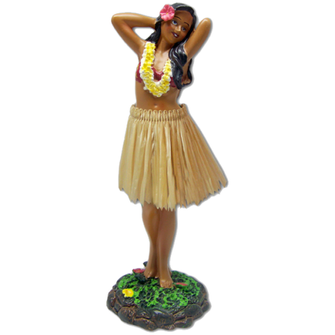 Dashboard Hula Girl Posing with Tan skirt