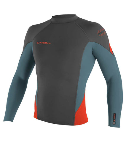 O'neill Hyperfreak 1.5mm LS Crew Wetsuit Top - Graphite Dusty Blue Neon Red - SURF WORLD Fort Lauderdale Florida