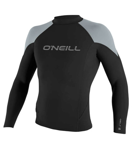 O'neill Hammer 1.5mm LS Crew Wetsuit Top - Black Cool Grey Bright Blue - SURF WORLD Fort Lauderdale Florida