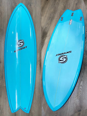 Skinner Surfboards 5'7 x 21 x 33.5L Twin Fin Surfboard Resin Tint