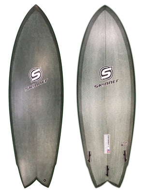 "SOLD Skinner Surfboards 5'6"" x 20.6"" OG Fish Epoxy Army Green Pigment - Twin + 1 SURF WORLD"