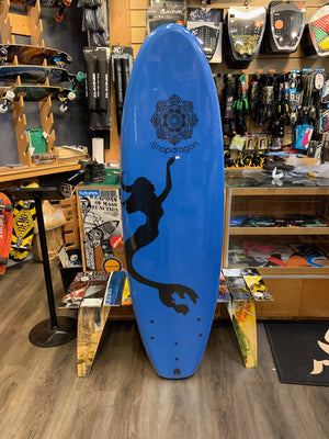 "Soft Surfboard Bru Surf Snap Dragon Mermaid 6'0 x 21"" Squash Tail Tri Fin softboard SURF WORLD"