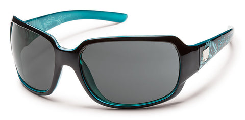 SunCloud Cookie Black Teal Laser Grey Polarized Sunglasses - SURF WORLD Florida