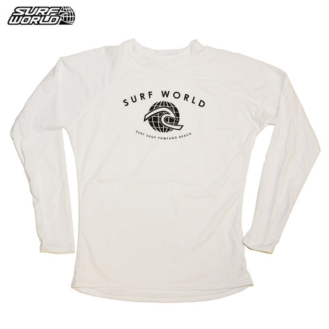 Surf World Junior L/S White Lycra Skins - SURF WORLD Florida