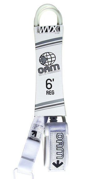 OAM 6' Regular White White Surfboard Leash LE10R6WW SURF WORLD