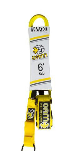 OAM Regular 8' Leash Yellow LE10R8YH - SURF WORLD