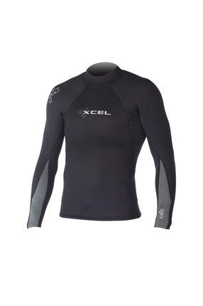 XCEL Mens Basic L/S Axis Wetsuit Top Black MN216AX4 - SURF WORLD Fort Lauderdale Florida