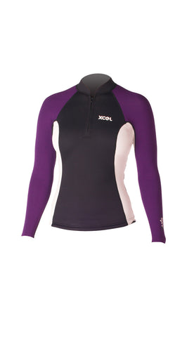 XCEL Short Front Zip L/S Womens Wetsuit Top WN2Z6AX4 - SURF WORLD Florida