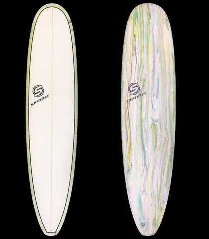 """SOLD"" Skinner 8'0 x 22.5 x 2.7"" Epoxy Mini Longboard  w/ Acid Resin Bottom"
