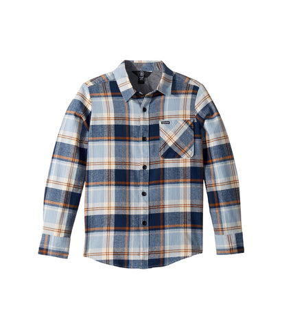 Volcom Caden Plaid Long Sleeve Flannel - Slate Blue