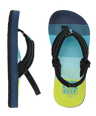 Reef Kids Ahi Sandals Aqua/ Green Flip Flops - SURF WORLD  - 3