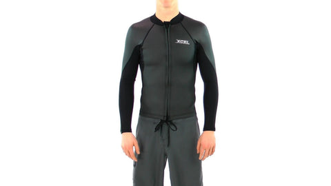 XCEL Mens Front Zip Smoothskin Black Wetsuit Top MS236AX4 - SURF WORLD Fort Lauderdale Florida