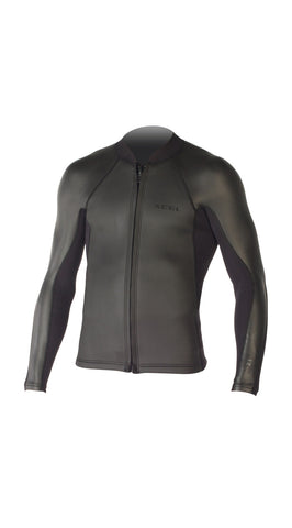 XCEL Axis Mens L/S Wetsuit Top Front Zip Black Smooth Skin MS236AX4 - SURF WORLD Fort Lauderdale Florida