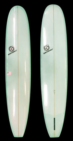 Skinner 9'6 Noserider Log - Coke Bottle Green Resin Tint Gloss and Polish Poly