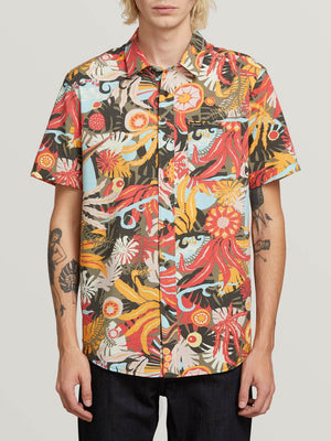Volcom Psych Floral Short Sleeve Shirt Army SURF WORLD