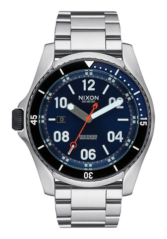 Nixon Descender Blue Sunray Stainless Steel Analog Watch - Blue Sunray - SURF WORLD Fort Lauderdale Florida
