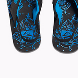 Kid's Reef Ahi Light Up Prints Black Blue Sandals - SURF WORLD  - 1