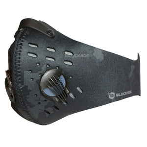Black Camouflage Face Covering with Breathing Valves and Filter - Black Camo