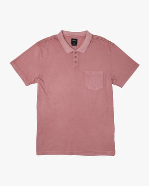 RVCA PTC Pigment Polo SS Mens Polo Shirt - Dusty Rose / Blue Haze