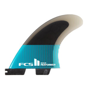 FCS 2 Performer PC Glass Quad Surfboard Fins - Teal Gradient 4 Fin Set