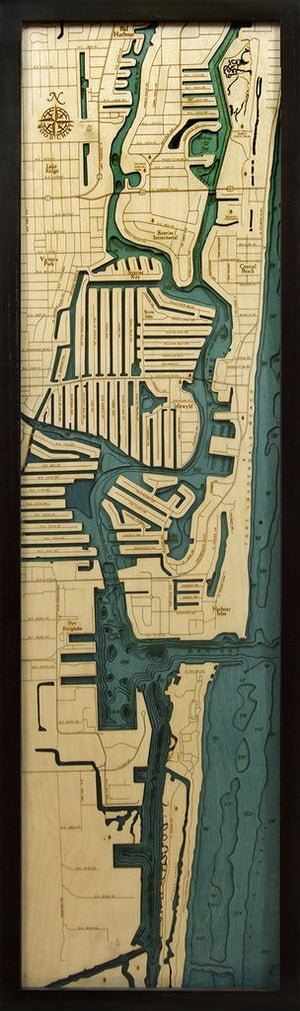 "Fort Lauderdale Wood Map 43 x 13.5"" SURF WORLD"